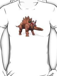 Santa Claus Riding On Stegosaurus T-Shirt