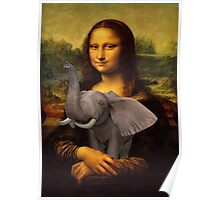 Mona Lisa With Elephant Poster