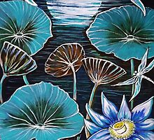 Blue Lotus Flower & Dragonflies by Sheridon Rayment by BlueMoonOwl
