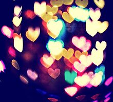 Colorful Hearts Bokeh Vintage Blue Yellow Orange IV by Beverly Claire Kaiya