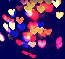 Colorful Hearts Bokeh Vintage Blue Yellow Orange V by Beverly Claire Kaiya