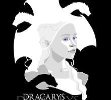 Daenerys Targaryen and dragons minimalist portrait by hellbereth