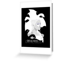 Daenerys Targaryen and dragons minimalist portrait Greeting Card