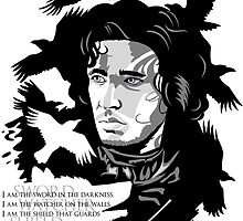 Jon Snow, minimalist portrait with Snow and crows by hellbereth