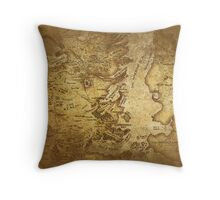 Distressed Maps: Game of Thrones Westeros & Essos Throw Pillow