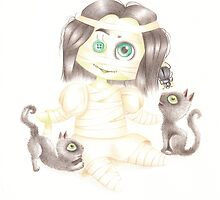 Strange mummy doll and her cats by hellbereth