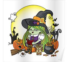 Halloween Witch girl reading book Poster