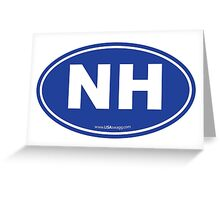 New Hampshire NH Euro Oval BLUE Greeting Card