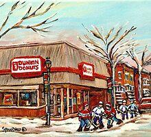 DUNKIN DONUTS AND HOCKEY VERDUN CITY WINTER SCENE  by Carole  Spandau