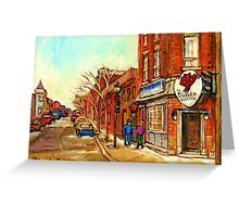 RUE CENTRE LE DIABLE A QUATRE POINTE ST.CHARLES TAVERNE MONTREAL STREET SCENE IN WINTER Greeting Card