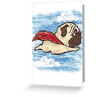 Flying Pug Greeting Card