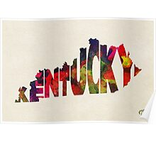 Kentucky Typographic Watercolor Map Poster