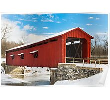 Red Covered Bridge and Snow Poster
