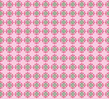 Pink and Green Floral Pattern on Pale Pink by Greenbaby