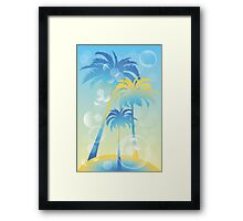 Tropical island - illustration with palm trees and bubbles  Framed Print