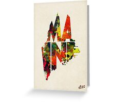 Maine Typographic Watercolor Map Greeting Card