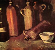 Still Life with Four Stone Bottles, Flask and White Cup by Vincent van Gogh. by naturematters