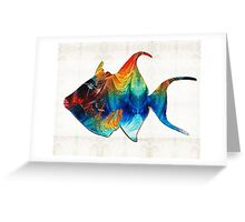 Trigger Happy Fish Art by Sharon Cummings  Greeting Card