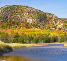 Sand Beach and Beehive In Fall Acadia National Park Sticker