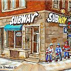 MONTREAL BEST SELLING PRINTS SUBWAY'S RESTAURANT VERDUN HOCKEY STREET SCENE by Carole  Spandau