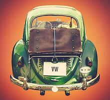 Vintage Volkswagen Beetle With Suitcase by mrdoomits