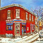POINTE ST.CHARLES BEST SELLING PRINTS DEPANNEUR SURPLUS DE PAIN MONTREAL WINTER PAINTING by Carole  Spandau