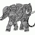 Snakelephant Indian Ink Hand Draw by BluedarkArt