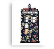 Floral TARDIS Canvas Print