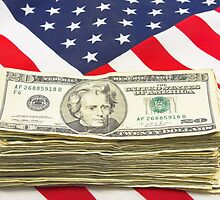 Stack of Money On American Flag  by KWJphotoart