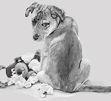 Cute puppy mixed breed with teddy dog realist art  by pollywolly