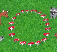 The Fauna and the Fairy Ring - Whimsical Animal Art by misadventureart