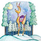 Winter Wonderland Reindeer Watercolor by joyfulroots