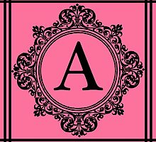Hot Pink and Black Monogram A by Greenbaby