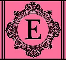Hot Pink and Black Monogram E by Greenbaby