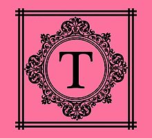 Hot Pink and Black Monogram T by Greenbaby