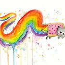 Nyan Cat Watercolor by OlechkaDesign