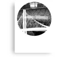 Golden State Warriors Oracle Arena Black and White Canvas Print