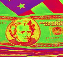 Stack of Money On American Flag Pop Art Sticker