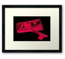 Skeleton Key On Pile Of American Money Pop Art Framed Print
