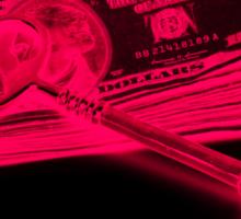 Skeleton Key On Pile Of American Money Pop Art Sticker