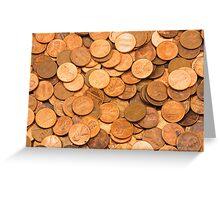 Pile of American pennies Greeting Card