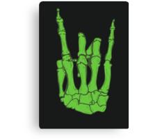 Skeleton hand | Green Canvas Print