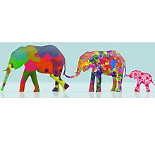 3 Colorful Elephants Holding Tails - Pop Art Photographic Print