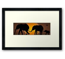 Silhouettes of 3 Elephants Holding Tails Framed Print