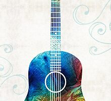 Colorful Guitar Art by Sharon Cummings  by Sharon Cummings