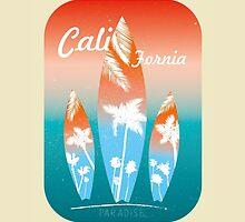 Beach Surfing California retro style by vinainna