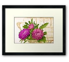 Asters In Tray - Digital Art Oil Painting Framed Print