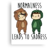 Normalness leads to sadness- Danosaur and Phillion Canvas Print