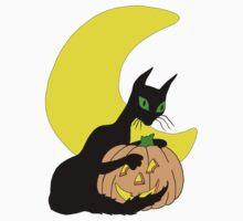 Black Cat Crescent Moon Kids Clothes