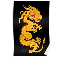 Golden Dragon with Red Style Poster